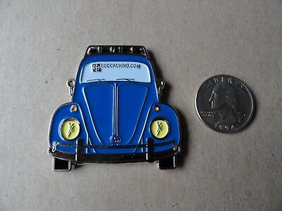 Geocoin Blue Volkswagen Bug Activated/Adoptable/Trackable Geocaching