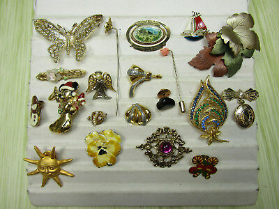 Costume Jewelry Brooch Pin Lot AS IS Gold Tone Mickey Flower Sun Leaves
