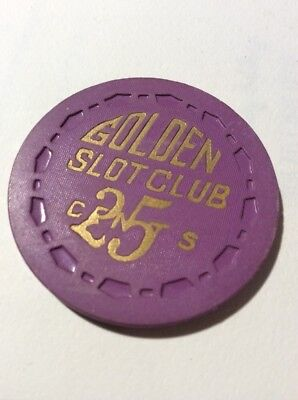 Golden Slot Club 25 Cent Casino Chip- Scarce- Exc Condition- Free Ship!
