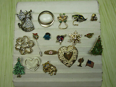 Costume Jewelry Brooch Pin Lot AS IS Gold Tone Sparkle Angel Heart Lenox Tree