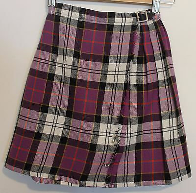 VINTAGE 1970's St Michael Girls Purple White Tartan Kilt Skirt 10 MacPherson
