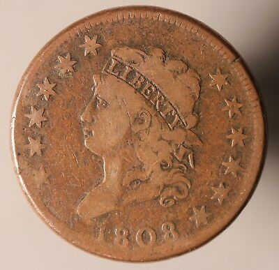 """1808 US Large Cent, Classic Head, """"12 Star Variety"""" S-277"""