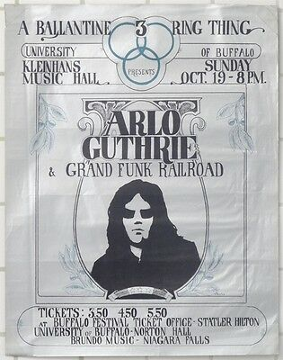 Arlo Guthrie Grand Funk Buffalo NY 1969 FOIL Concert Poster