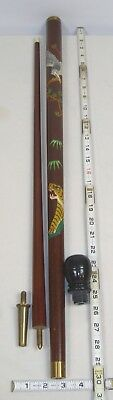 Japanese Wooden Carved Walking Cane With Hidden Pool Cue Post War Souvenir