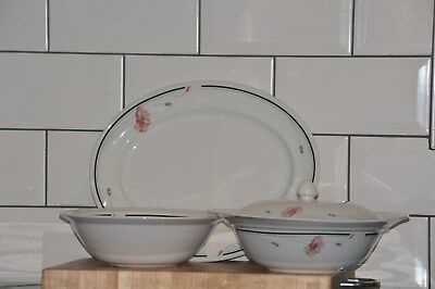 Summerfields Poppy Design Johnson Bros Oval Meat Platter and Serving Dishes