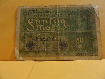 1919 50 Mark Banknote .germany.
