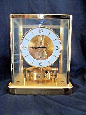 Vtg 1980s Atmos Cal 540 Clock Jaeger Le Coultre Perpetual Motion Clock #667343