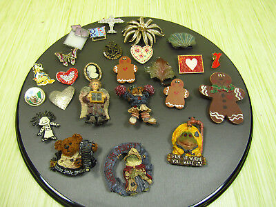 Costume Jewelry Brooch Pin Lot As Is Boyd's Gingerbread Frogs Rhinestones