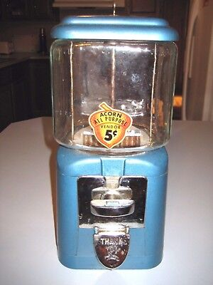 """1960's Acorn 5 cent Gumball or Peanut Machine w/ Key Nice Working  Condition 16"""""""