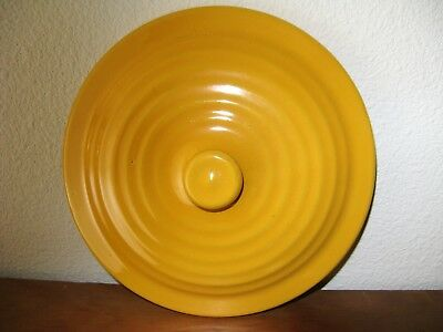 "Early Bauer Pottery Ring Ware Canary Yellow Casserole 7"" Lid"