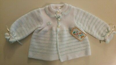 Vintage Infant Baby Girls Sweater NWT Doll Style White & Pale Green 6 / 9 mo