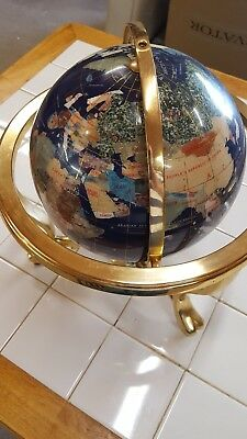 Vintage World Globe Solid Brass Stand With Compass & Semiprecious Stone Inlay