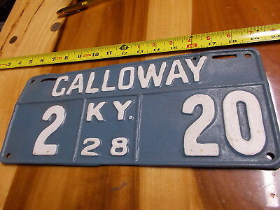 Vintage 1928 Calloway Kentucky License plate
