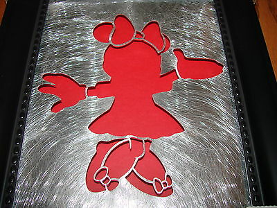 Walt Disney World MINNIE MOUSE Framed SILHOUETTE Exclusive Silver Red Black *NEW