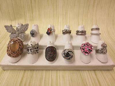 Costume Jewelry Ring Lot AS IS Silver Tone Pink Sparkle Butterfly Peace
