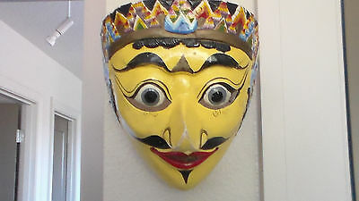 GORGEOUS, DRAMATIC Vintage Yellow Wood Mask, Made in Indonesia, Javanese Art