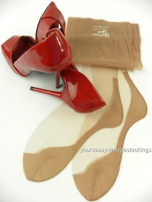 SASSY 2 Pr SHOPPER'S FAIR BEIGE 51/15 SEAMED FF Vintage Nylon Stockings  9/30""
