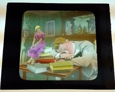 Antique Magic Lantern Colored Glass Slide Surreal Romantic Unique