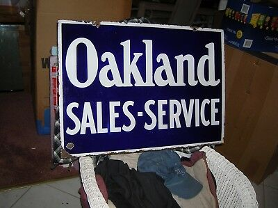 Oakland Car Sales-Service Sign Porcelain 1907-1915 One Side Great Condition