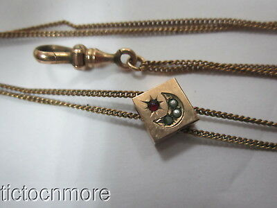 Antique Victorian Double Strand Pocket Watch Chain & Seed Pearl Moon Slide 48""