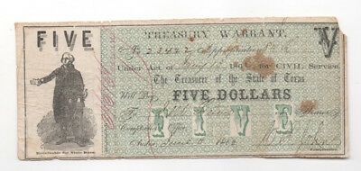 Civil War Confederate CSA  $5 Texas Treasury Warrant Note Obsolete Currency