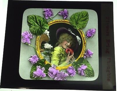 Antique Magic Lantern Colored Glass Slide Surreal Romantic Flowers Unique