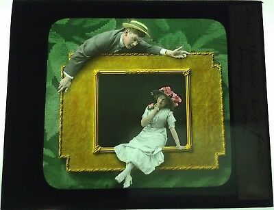 Antique Magic Lantern Colored Glass Slide Surreal Romantic Couple Frame Unique