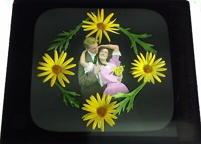 Antique Magic Lantern Colored Glass Slide Surreal Romantic Couple Unique flowers