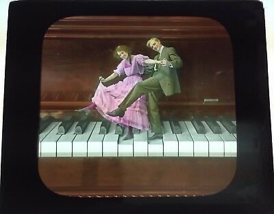 Antique Magic Lantern Colored Glass Slide Surreal Romantic Unique Piano Dancing