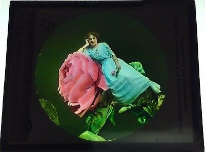 Antique Magic Lantern Colored Glass Slide Surreal Unique Woman Flower