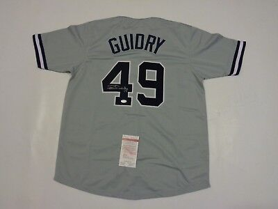 RON GUIDRY autographed signed Yankees grey jersey JSA Witness