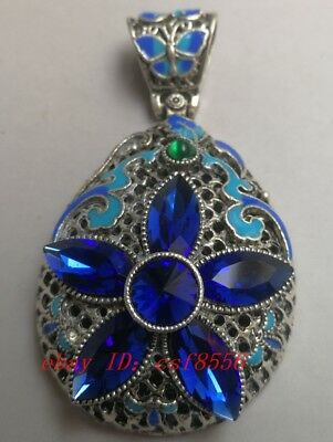 China's Tibet silver inlay cloisonne & zircon by hand pendants    f