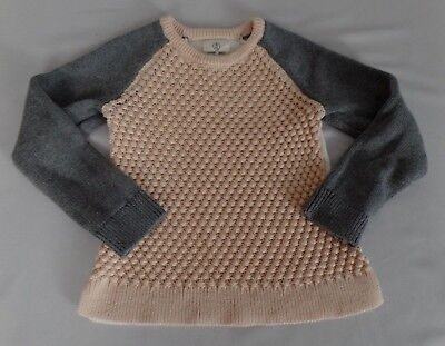 Lands' End Kids Girls Size 4 Chunky Knit Pink Gray Sweater EUC