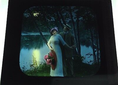 Antique Magic Lantern Colored Glass Slide Romantic Couple Moon Lake