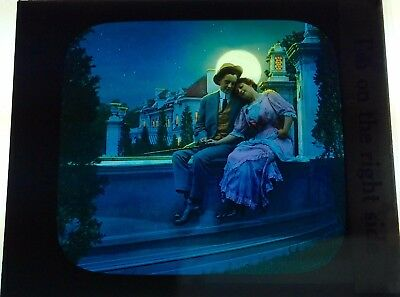 Antique Magic Lantern Colored Glass Slide Romantic Couple Moon