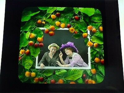 Antique Magic Lantern Colored Glass Slide Surreal Romantic Couple Fruit Unique