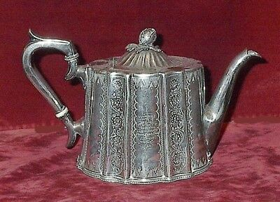 1889 English Presentation Silver Tea Pot To Dunn St. Girls School Teacher Jarrow