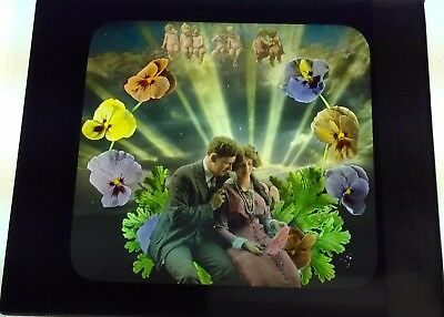 Antique Magic Lantern Colored Glass Slide Surreal Romantic Couple Cherubs Unique