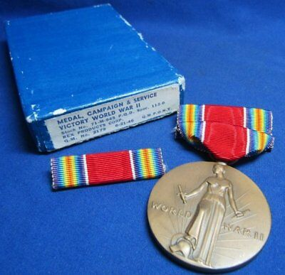 WWII Freedom Victory Medal and Ribbons In Original Box by Rex