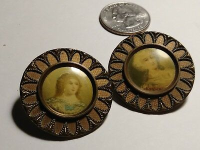 "2 Rare Antique French Buttons, 1 1/4"" Tiny 3/4"" Portrait, Hand Painted? Ceramic?"