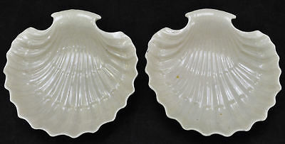Pair of Antique Leeds Pottery Creamware Shell Dishes circa 1820