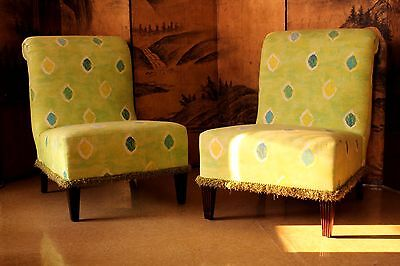 Baker Furniture Slipper Style Lounge Chairs / Pair / Premium Quality