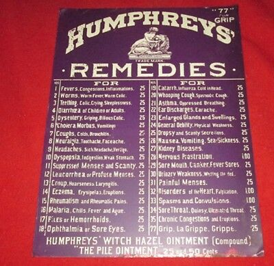 Rare Tin Sign Humphrey's Remedies From Old Drug Store