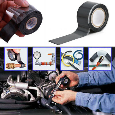 Black Rubber Silicone Repair Waterproof Bonding Tape Rescue Self Fusing Wire New