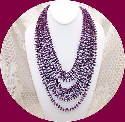 Vintage Multi Strand, Purple/Lavender, Hand-knotted, Mother of Pearl Necklace.