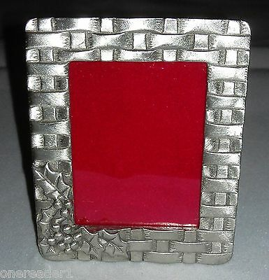 Longaberger Miniature Pewter Picture Frame Holly & Berries Basket Weave -  NEW