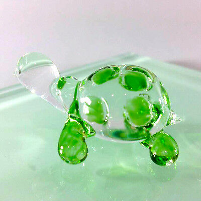 TINY TURTLE HAND PAINT GREEN BLOWN GLASS ART FIGURINE DECOR/SEA COLLECTION#pro