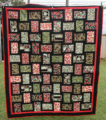 Handmade Patchwork Quilt - Queen Size - Kiwiana 100% Cotton Fabric