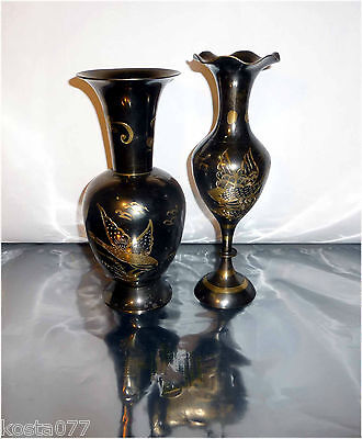 Solid Brass, Two Toned Ornate Flower Vases, Edged Wild Birds Theme