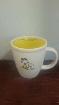 "Hallmark  Peanuts Snoopy & Lucy Yellow White Coffee Mug ""if Everybody Agreed.."""